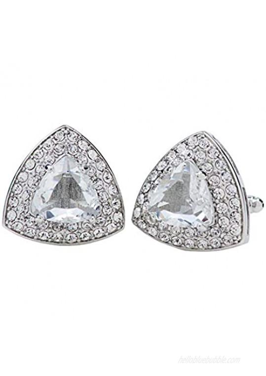 Vittorio Vico Triangular Crystal Diamond Set Cufflinks by Classy Cufflinks