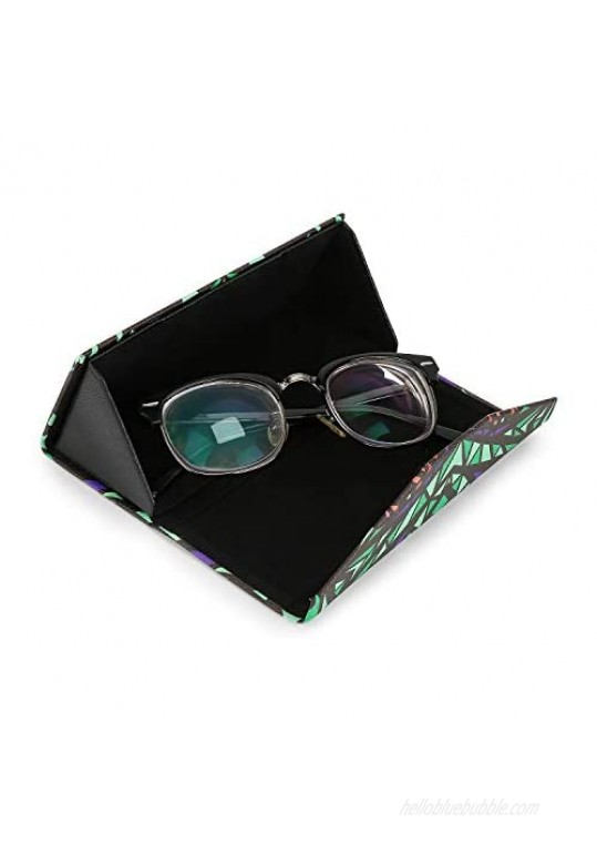 Foldable Glasses Case Triangle Sunglasses Cases Available in Cute Pattern and Solid Colors 2 Pack
