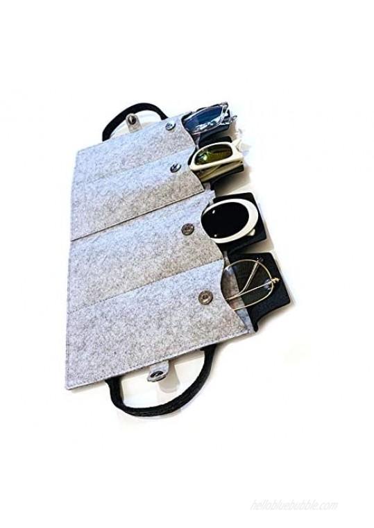 JAVOedge Felt Eyeglass  Sunglass  Glasses  Travel Storage Organizer [3 Slot  4 Slot] Fold Up Cases Secure Snap Enclosure