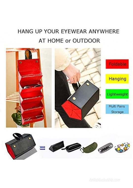 Leather Sunglasses Travel Organizer Case Eyeglasses Storage with Brush Cleaner