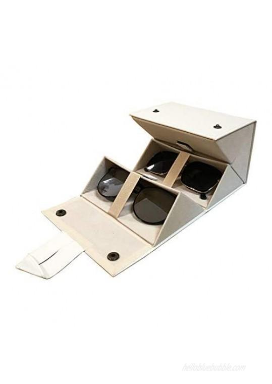 Longjet Sunglasses Organizer Box 4 Slots Multiple Pairs Eyeglasses Storage Display Travel Glasses Case (Beige)