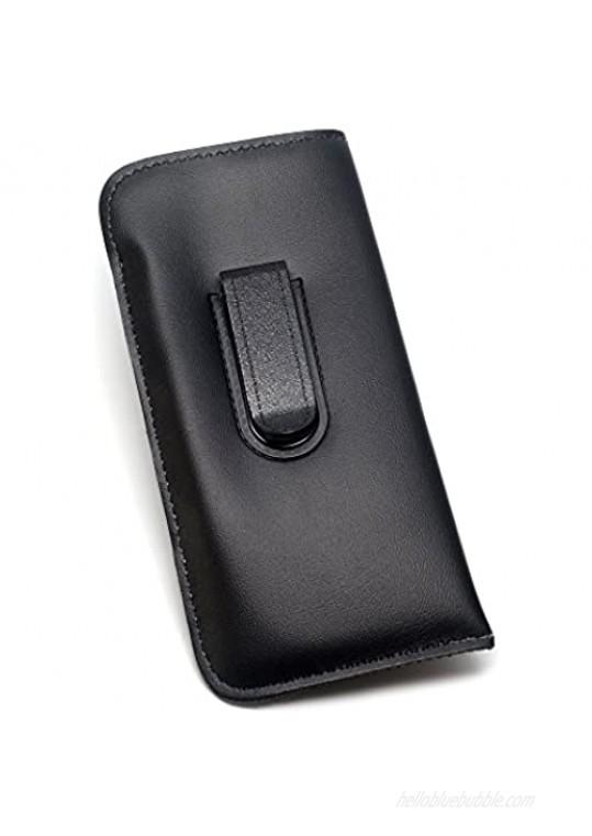 Mens Soft Slip-in Eyeglass Case w/Clip Medium Sized in Black 6.25 x 3.25 Inch