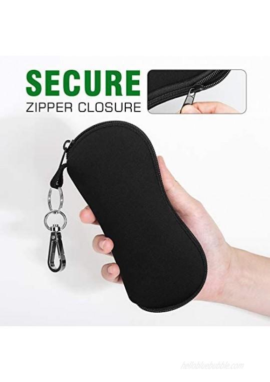 MoKo Sunglasses Soft Case 2 Pack Ultra Light Portable Neoprene Zipper Glasses Soft Case Eyeglass Safety Pouch Zipper Box Case with Belt Clip
