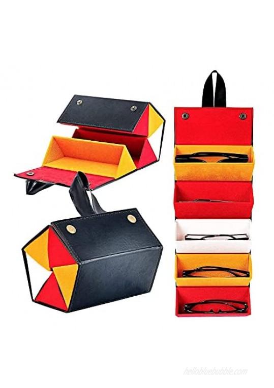 Multi Travel Sunglasses Organizer 5-Slot Foldable Eyeglasses Storage Case Portable Eyeglasses Display Travel Case