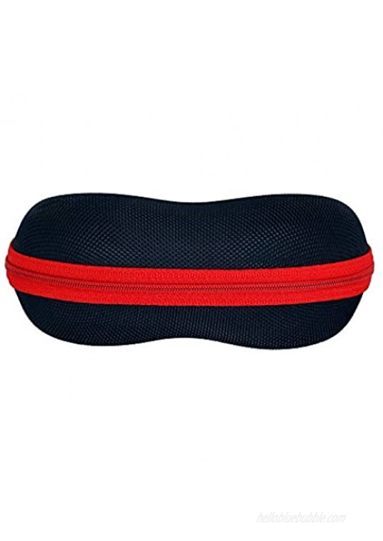 Protective Sports Sunglasses Case   For All Types Of Eyewear   Medium Size   For Men Women And Kids   Black With Red Zipper
