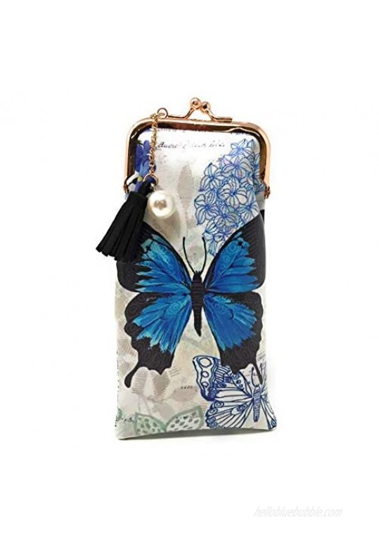 Value Arts Blue Butterfly Eyeglass Case Pouch 7 Inches Long