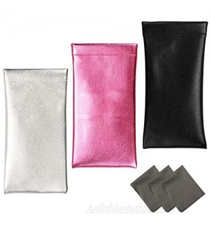 Vemiss 3 PACK Eyeglasses Pouch Squeeze Top Sunglasses Case with 3 Sets Cleaning Cloth