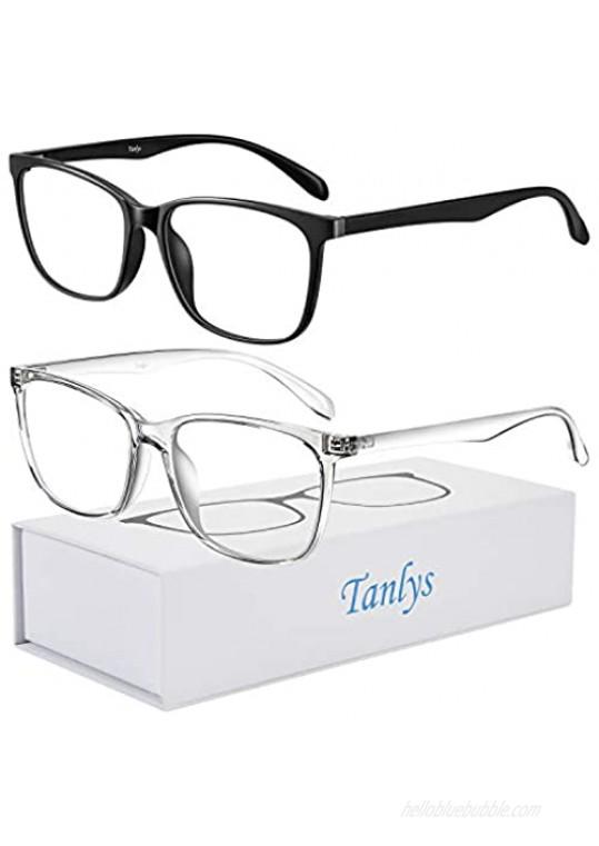 Tanlys 2 Pack Blue Light Blocking Glasses for Computer Eye Strain [Dry Eye & Sour Eye] Anti UV Reduce Headache Lightweight Classic Bluelight Blocker Glasses Men Women (Black Clear)