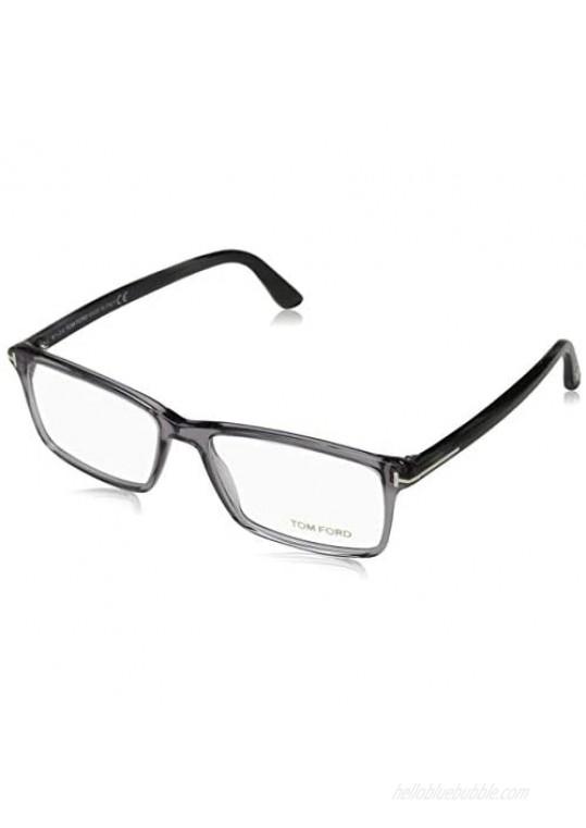 TOM FORD Men's TF 5408 Rectangular Eyeglasses 56mm Transp. Grey Grey Horn Effect Temples Shiny Pall 56/16/145