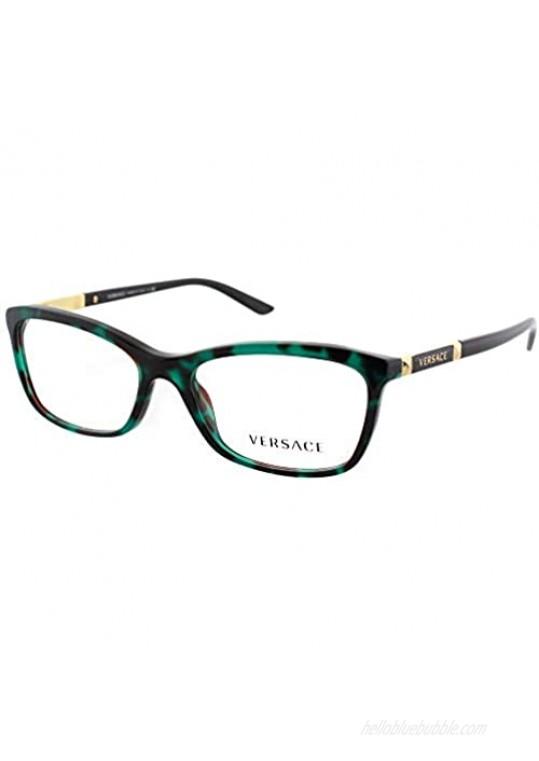 Versace VE3186 Eyeglass Frames 5076-54 - Green Havana Transp VE3186-5076-54