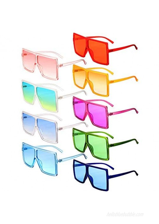9 Pairs Oversized Square Sunglasses Flat Top Chic Big Shades Sunglasses for Women