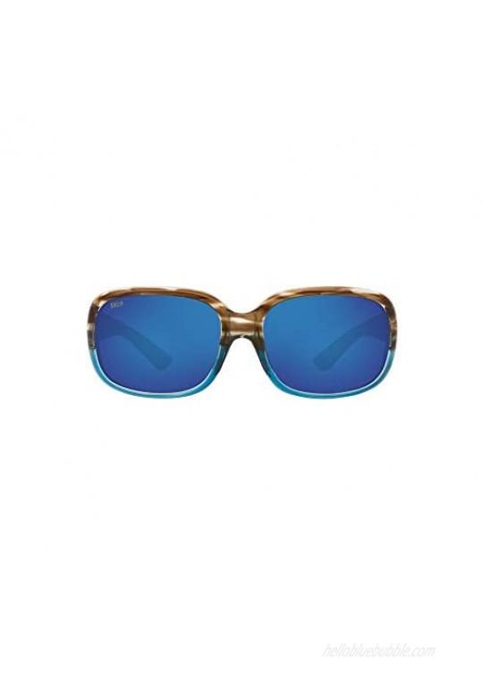 Costa Women's Gannet Polarized Rectangular Sunglasses Shiny Wahoo Frame/Blue Mirror Lens 580P 58 mm