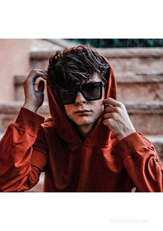 FEISEDY Women Men Flat Top Shield Sunglasses Oversized Square Rimless Shades UV400 B2470