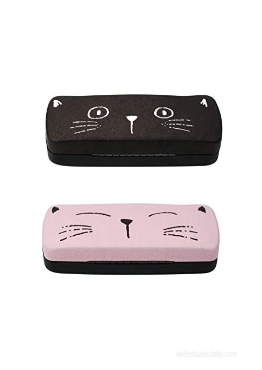 [2 PACK]  JAVOedge Multi-Color Cute Cat Face Printed Hard Clamshell Eyeglass Storage Case with Microfiber Cloth