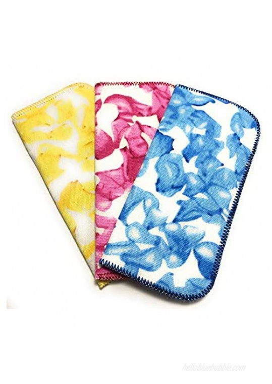 3 Pack Soft Eyeglass Slip in Cases for Women & Men In A Variety of Colors & Patterns