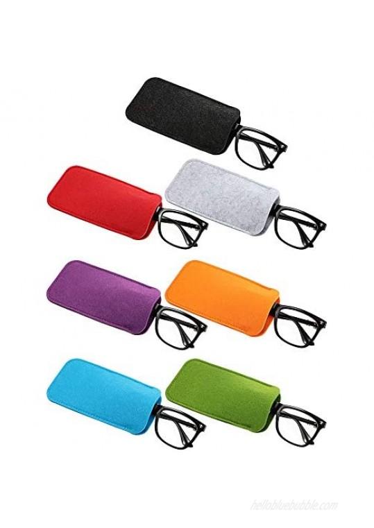 7 Pieces Felt Slip in Eyeglass Cases Soft Sunglasses Storage Case Portable Travel Glasses Pouch