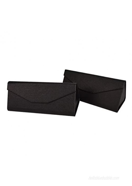 Bleiou Foldable Glasses Case Leather Hard Glasses Sunglasses Case Easy to Carry  Pack of 2