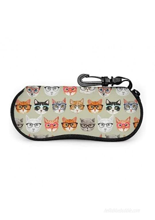 BLUBLU Sunglasses Soft Case with Belt Clip  Portable Glasses Case Neoprene Zipper Eyeglass Bag