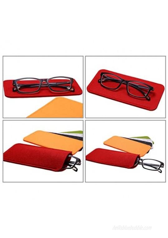 Shapenty 5 Colors Portable Felt Eyeglass Pouch Case Reading Glasses Bag Soft Slip In Sunglasses Holder Sleeve for Eye Glasses Protection and Travel Storage 5PCS