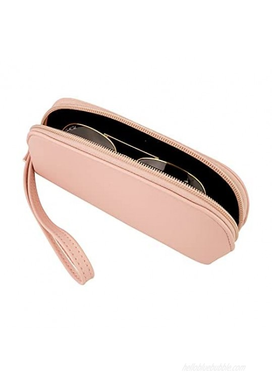 Zipper Eyeglass Case Holder with Elegant Microfiber Pouch – Premium Leatherette Eye Glass Carry Case Protector