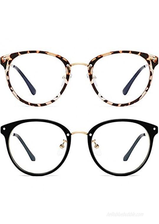 Blue Light Blocking Glasses for Women Men-FEIDU Round Computer Reading Glasses