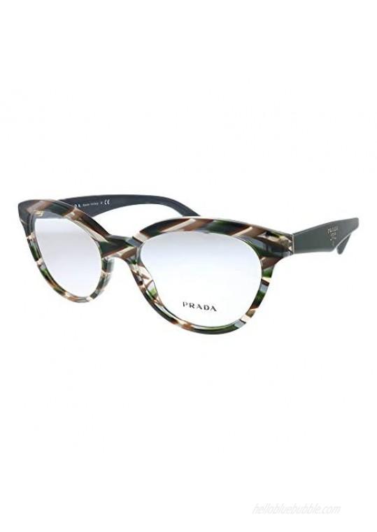 Prada Heritage PR 11RV VAO1O1 Sheaves Grey Brown Plastic Round Eyeglasses 52mm