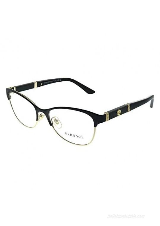 Versace VE 1233Q 1366 Black Pale Gold Metal Cat-eye Eyeglasses 53mm