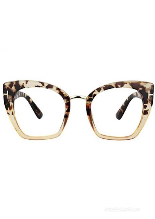 Zeelool Retro Oversized Thick Cat Eye Glasses Frame for Women Denis ZOT02018
