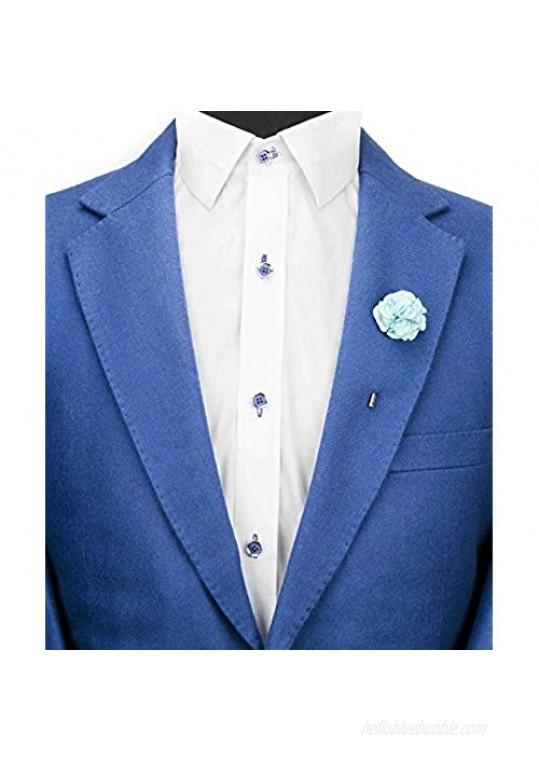 Knighthood Sky Blue Bunch Flower Lapel Pin Badge Coat Suit Wedding Gift Party Shirt Collar Accessories Brooch for Men