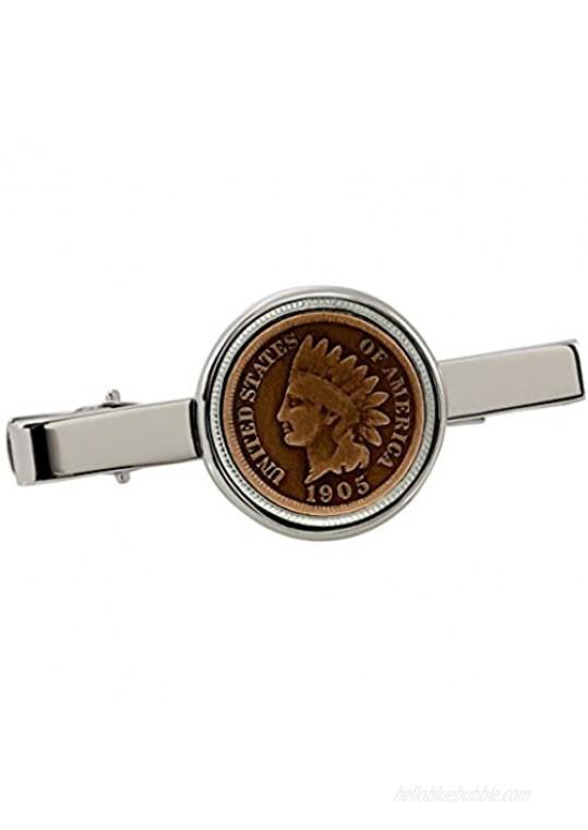American Coin Treasures Indian Penny Silvertone Coin Tie Clip