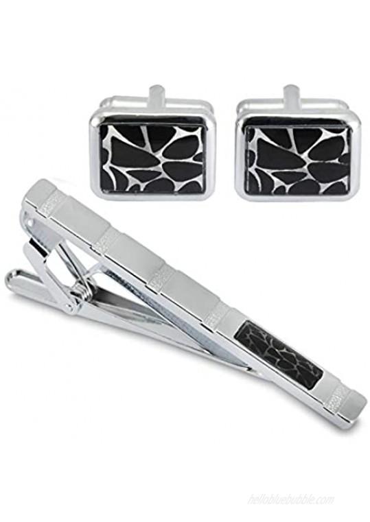 BodyJ4You 3PC Cufflinks Tie Clip Bar Button Shirt Modern Classic Design Business Gift Set