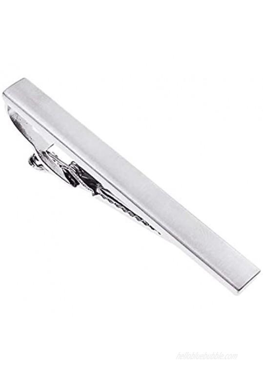 UJOY Skinny Tie Clips Black Silver 2.4'' Necktie Shirts Bar Pins Box Packed for Men K046