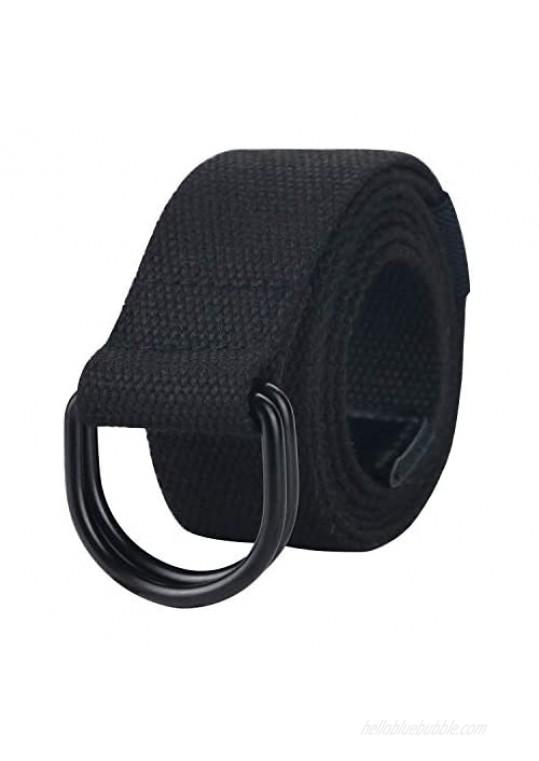 Black Belt Men Military Web Belts for Men Double Ring Canvas Belt