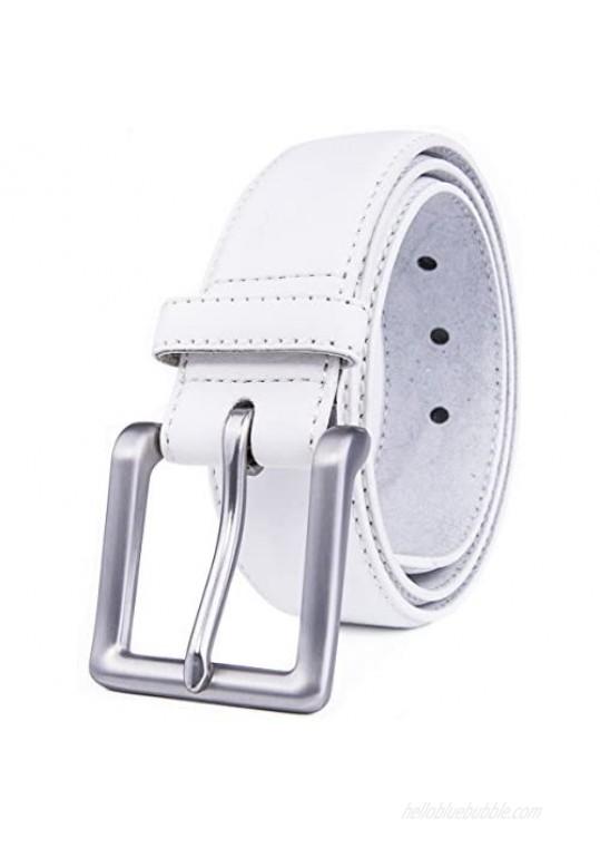 "Fabio Valenti Men's Casual Jean Leather Belt 1 1/2"" Wide 4MM Thick Alloy Prong Buckle Work Dress Belt for Men"