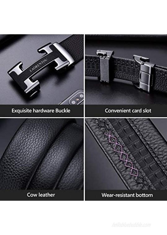 Genuine Leather Mens Belts 35''43'' 49'' Adjustable Buckles Ratchet Belts for Men Dress Belt with Automatic Buckle