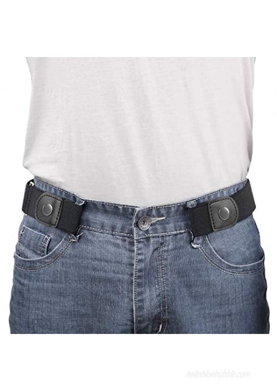 WERFORU No Buckle Elastic Belt for Men Stretch Buckle Free Belt for Jeans Pants 1.38 Inches Wide