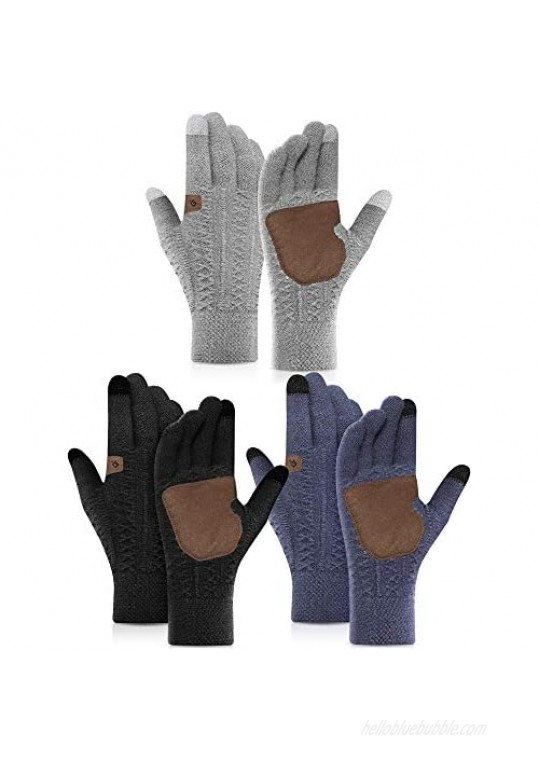 3 Pairs Winter Wool Gloves Unisex Warm Knit Touchscreen Gloves Thermal Anti-Slip Texting Gloves Cuff Driving Gloves with Thick Fleece Lining