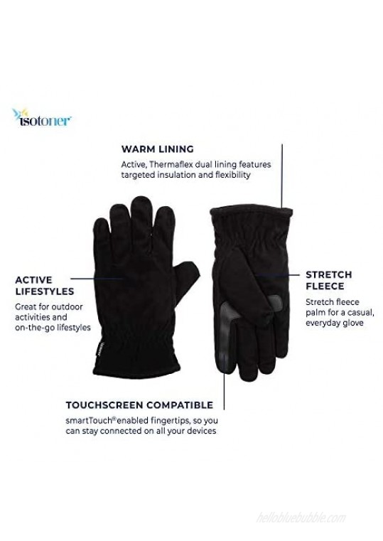 isotoner Men's Fleece Touchscreen Glove Water-Repellent with a Sherpa Soft Lining