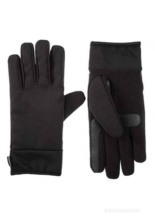 isotoner Men's Tech Stretch Touchscreen Texting Double Lined Cold Weather Gloves with Water Repellent Technology