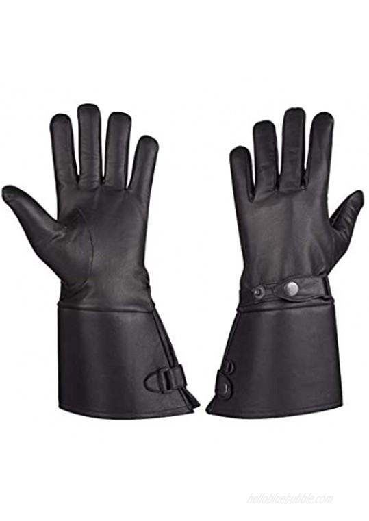 MEN'S THERMAL LINED LEATHER GAUNTLET GLOVES W SNAP WRIST & CUFF (L)