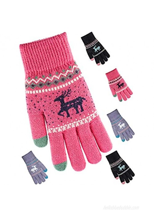 Tatuo 3 Pairs Texting Gloves Touchscreen Gloves Stretch Knitted Mechanic Gloves Winter Warm Gloves (Red  Black and Grey)