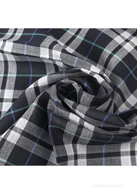 Houlife Men's 11 PCs 100% Cotton Striped Checked Pattern Handkerchief Pocket Square 17×17