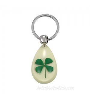 FM FM42 Dried Leaves Lucky Real 4-Leaf Clover Simulated Resin Glow in the Dark Key ring Keychains KC1010